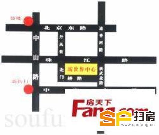 珠江路地铁口 新世界中心 户型方正得房率高 全套办公家具