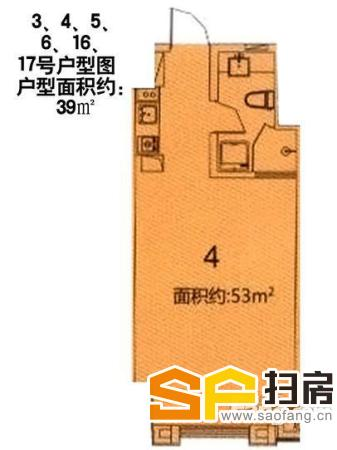 万达公寓,精装一室,商住两用,带厨房和卫生间-整租