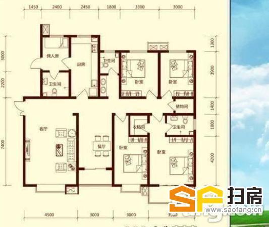 乐汇城附近 天滋嘉鲤南区 精装四室216平 有6台空调 热水器 沙发-整租