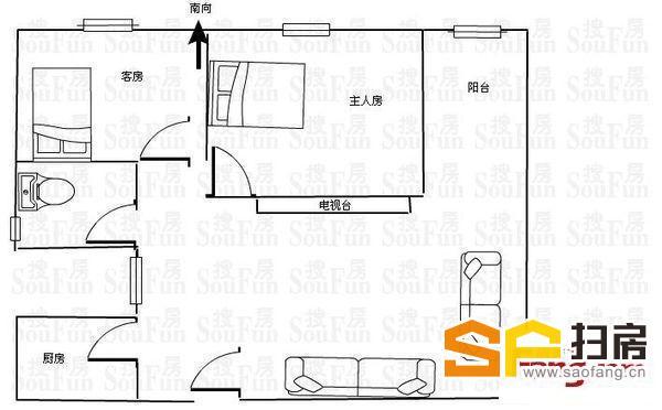 华景新城 温馨两房 东南向 黄金楼层 精装修 家电齐全 保养好-整租