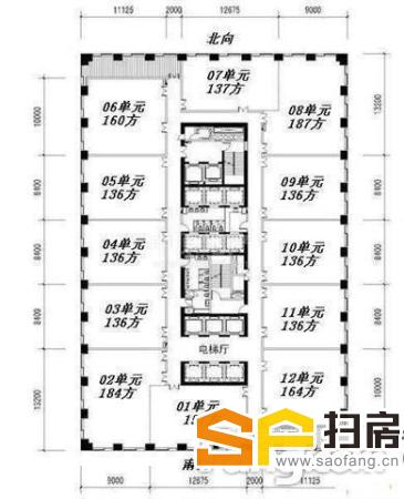 保利中汇广场 难得全层出售 租金5厘 产权清晰 各付各税 扫房网