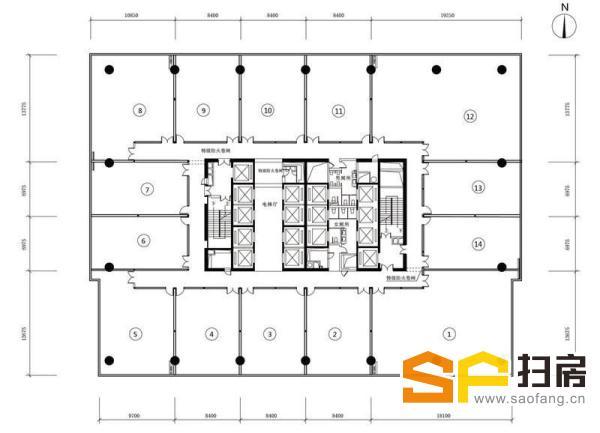 广州写字楼出租 富力盈通大厦 580方正对电梯口 精装南向 低价