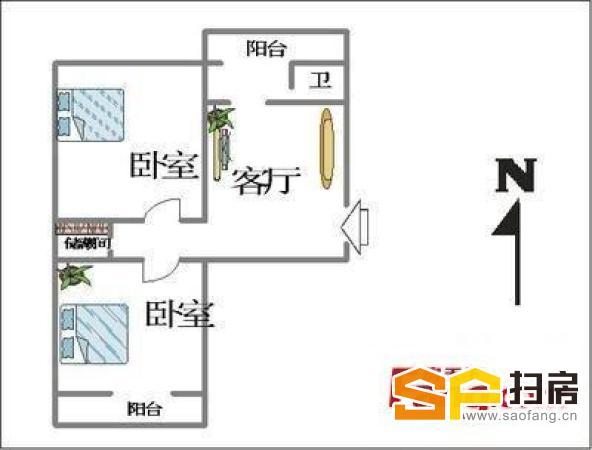 宁安小区、精装修小两室、南北通透、客厅可用!